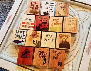 perfect gift for book lovers - Drinking Pun Book Coasters