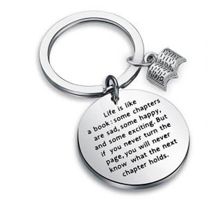 perfect gift for book lovers - bibliophile key ring